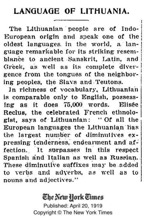 New York Times apie lietuvių kalbą